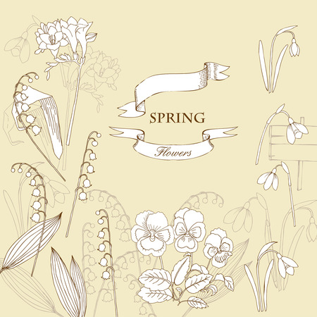 galanthus: Background with  lily of the valley, galanthus and pansy. Hand drawn snowdrops flowers sketches. Vector Illustration Illustration