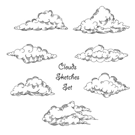 fun in the sun: Background with clouds sketches set. Hand drawn sky vector illustration