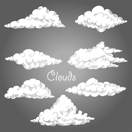sky clouds: Background with clouds sketches. Hand drawn sky vector illustration