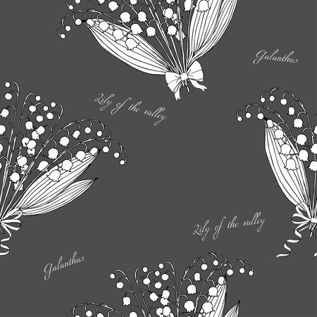 valley: Seamless pattern with lilies of the valley. Hand drawn spring sketches flowers. Vector Illustration