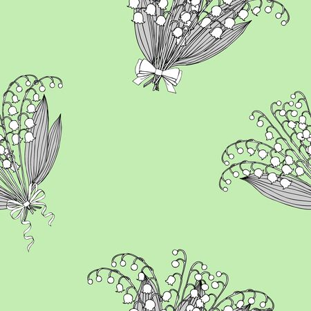 muguet: Seamless pattern with lilies of the valley. Hand drawn spring sketches flowers. Vector Illustration