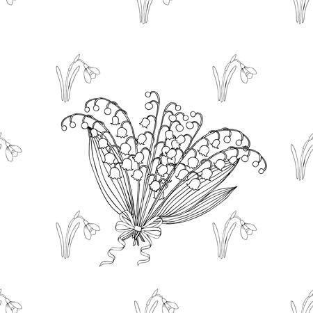 snowdrop: Seamless pattern with lilies of the valley. Hand drawn spring sketches flowers. Vector Illustration