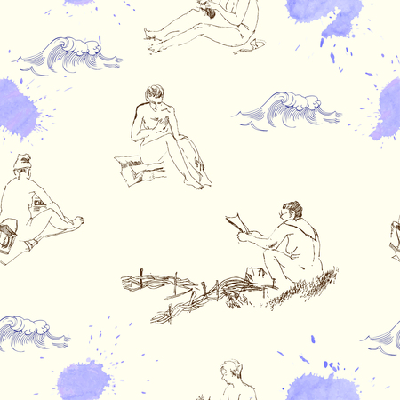 Seamless pattern with women on the beach.Hand drawn sketches vector illustration. Waves and rest