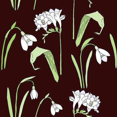 muguet: Seamless pattern with snowdrops. Hand drawn spring sketches flowers. Vector Illustration