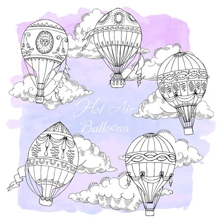 Background with Hot Air Balloons. Hand drawn sketches vector illustration