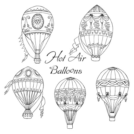hot air ballon: Background with Hot Air Balloons. Hand drawn sketches vector illustration