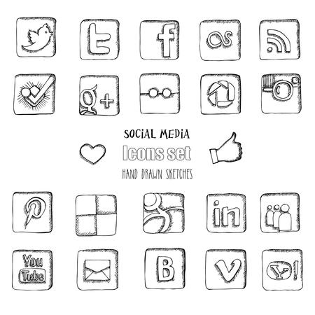 Social media icons set. Hand drawn sketches. Vector illustration