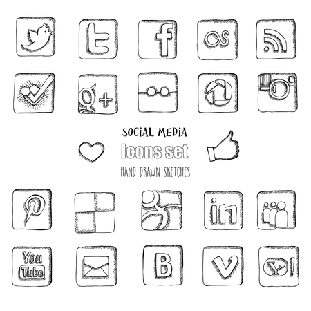 Social media icons set. Hand drawn sketches. Vector illustration Stock fotó - 55582762