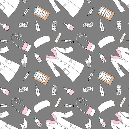 dressing treatment: Seamless pattern with medical things. Hand drawn medicine sketches. Vector Illustration