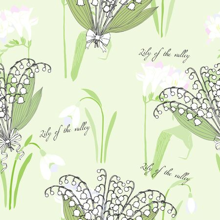snowdrops: Seamless pattern with snowdrops. Hand drawn spring sketches flowers. Vector Illustration