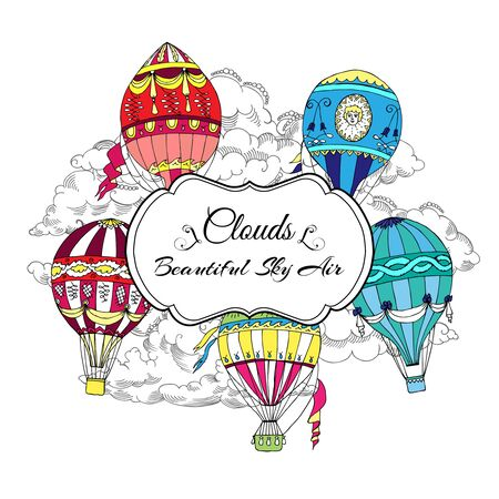 Background with Colored Hot Air Balloons. Hand drawn sketches vector illustration Иллюстрация