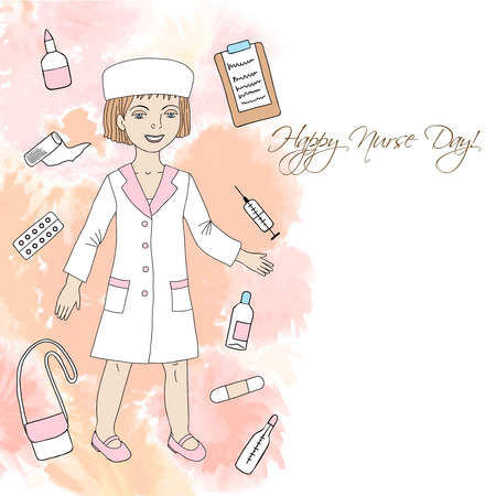 medical supplies: Background  with nurse and medical supplies. Hand drawn medicine sketches. Vector Illustration