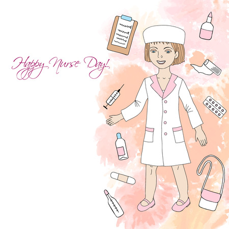 dressing treatment: Background  with nurse and medical supplies. Hand drawn medicine sketches. Vector Illustration