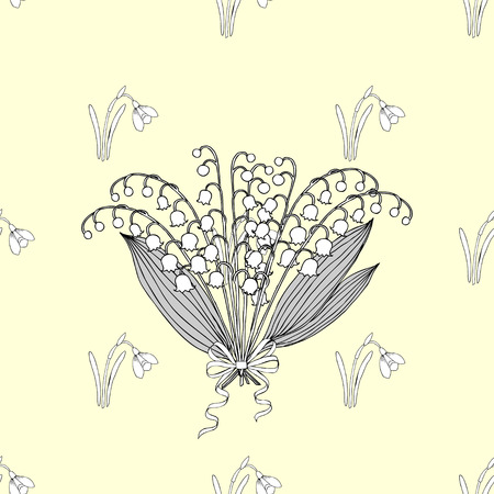 sprig: Seamless pattern with lilies of the valley. Hand drawn spring sketches flowers. Vector Illustration
