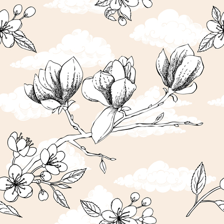 magnolia tree: Seamless pattern with apple tree and magnolia. Hand drawn patten with spring garden flowers.Vector Illustration