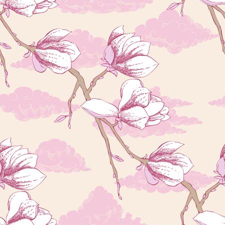 magnolia tree: Seamless pattern with magnolia. Vector Illustration
