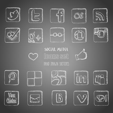 소셜 미디어 아이콘을 설정합니다. 손으로 그린 스케치입니다. 벡터 일러스트 레이 션 일러스트