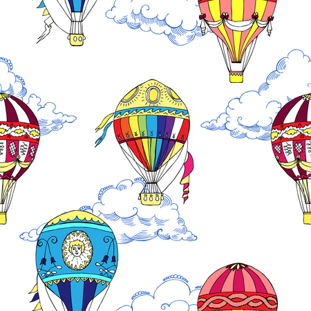 hot: Seamless pattern with clouds and hot air balloons. Hand drawn sketches. Vector Illustration