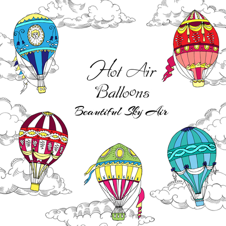 hand colored: Background with Colored Hot Air Balloons. Hand drawn sketches vector illustration Illustration