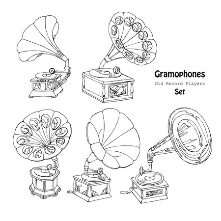 record player: Background with  gramophone.Hand drawn sketches  old record player. Vector  music illustration