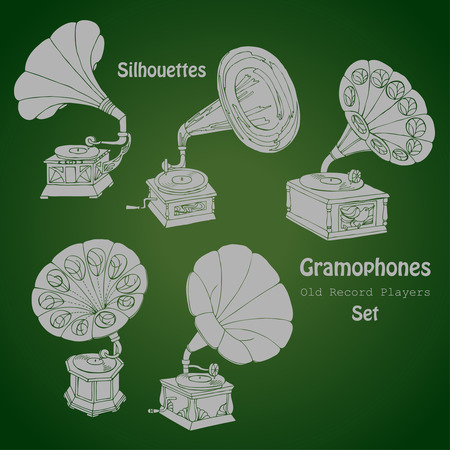 record player: Background with  gramophones.Hand drawn sketches old record player. Vector music illustration Illustration