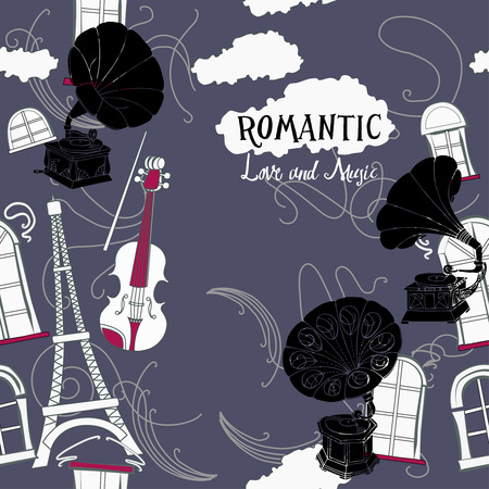 violin player: Romantic background with  Paris  and gramophones. Hand drawn sketches old record players. Vector music illustration