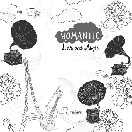 record player: Romantic background with  Paris, flowers  and gramophones.Hand drawn sketches old record player. Vector music illustration