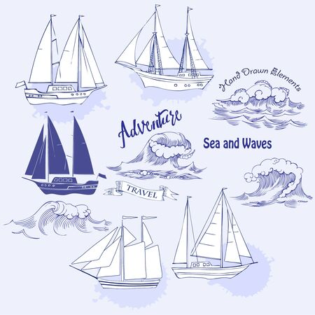 marin: Sea background with waves and ships.Hand drawn elements for summer holidays.Travel, marin and ocean. Vector Illustration