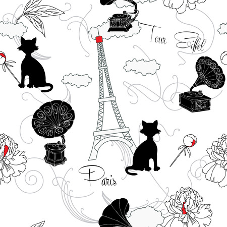 record player: Seamless pattern with  Paris, flowers  and gramophone.Hand drawn sketches old record player. Vector music illustration