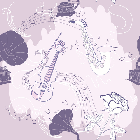 record player: Seamless pattern with music instruments, flowers  and gramophone.Hand drawn sketches old record player. Vector illustration