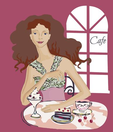 cofe: Young Womanin in Cafe. Vector illustration