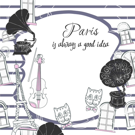 violin player: Romantic background with  Paris and gramophones. Hand drawn sketches old record players