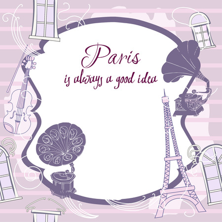 violin player: Romantic background with  Paris and gramophones. Hand drawn sketches old record players.