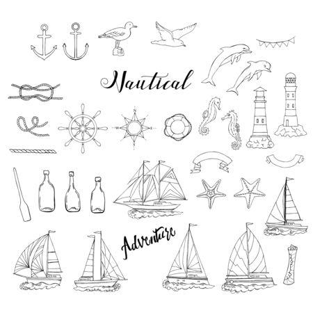 sfondo nautico con navi e ruote, cavalluccio marino, barche a vela, delfini e nodi sul mare. elementi disegnati a mano per l'estate holidays.Travel, Marin e oceano. Vettoriali