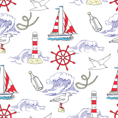 Nautical seamless pattern with ships and wheels  sea knots. Hand drawn elements for summer holidays.Travel, sea and ocean.