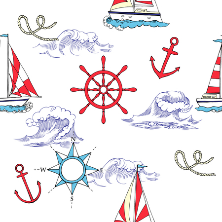 Nautical seamless pattern with ships and wheels. Hand drawn elements for summer holidays.Travel, sea and ocean.