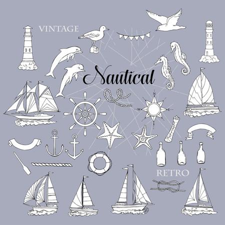 Set con elementi nautici navi e ruota, cavalluccio marino, barche a vela, delfini e nodi sul mare. Mano articoli disegnati per l'estate holidays.Travel, Marin e oceano.