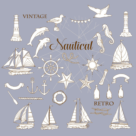 articles: Set with nautical  elements ships and wheel, seahorse, sailing boats,  dolphin and sea knots. Hand drawn articles for summer holidays.Travel, marin and ocean.