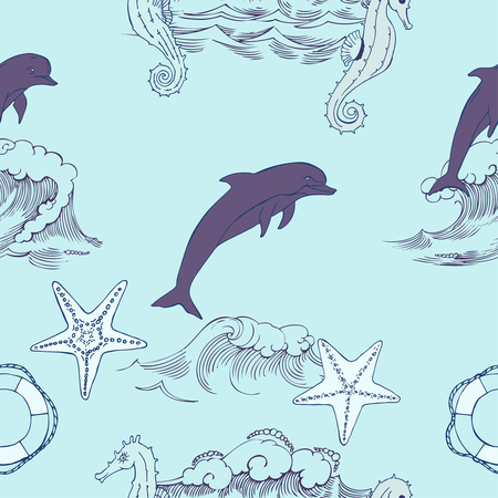 hand knot: Nautical seamless pattern with  seahorses and  dolphins. Hand drawn elements for summer holidays. Travel, sea and ocean. Vector Illustration