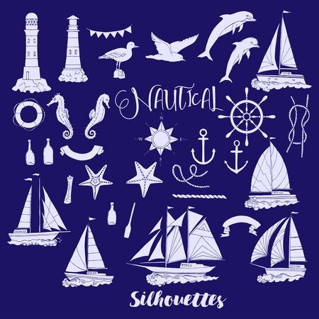 articles: Set with nautical  silhouettes ships and wheel, seahorse, sailing boats,  dolphin and sea knots. Hand drawn articles for summer holidays.Travel, marin and ocean. Vector Illustration