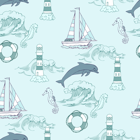Nautical seamless pattern with ships  seahorse and dolphins. Hand drawn elements for summer holidays.Travel, sea and ocean. Vector Illustration Vectores