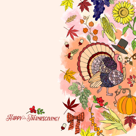 Thanksgiving day. Background with hand drawn elements. Pumpkin, turkey, harvest, sunflower, autumn. Vector Illustration Illustration