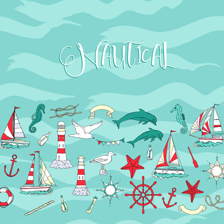 Nautical background hand drawn elements