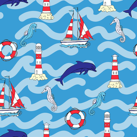 Nautical seamless pattern with ships  seahorse and dolphins. Hand drawn elements for summer holidays.Travel, sea and ocean. Vector Illustration Ilustracja