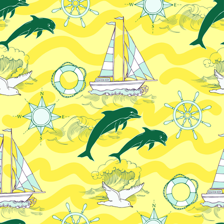 ship anchor: Nautical seamless pattern with ships and wheel, seahorse, sailing boats and  dolphins. Hand drawn elements for summer holidays.Travel, sea and ocean. Vector Illustration
