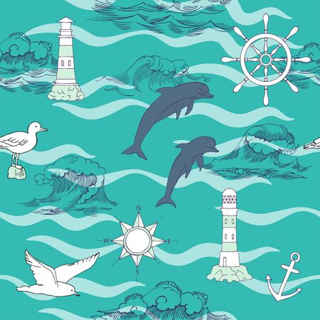 ship anchor: Nautical seamless pattern with and wheels and  dolphins. Hand drawn elements for summer holidays.Travel, sea and ocean. Vector Illustration Illustration