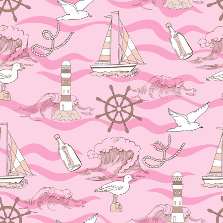 ship anchor: Nautical seamless pattern with ships and wheels. Hand drawn elements for summer holidays.Travel, sea and ocean. Vector Illustration