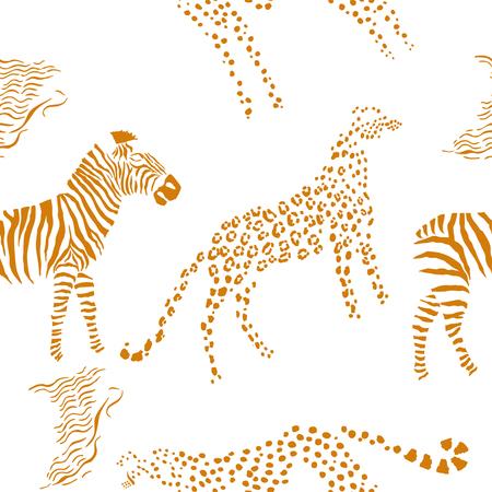 サバンナの動物とのシームレスなパターン