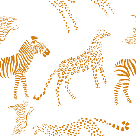 Seamless pattern with savanna animals Illustration
