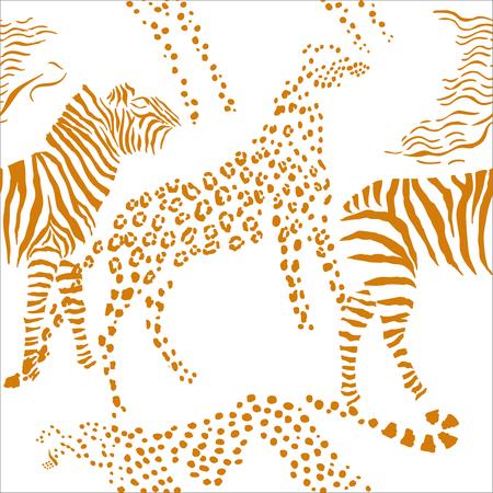 Seamless pattern with savanna animals. Hand drawn animals sketches  in safari park. Vector Illustration Illustration